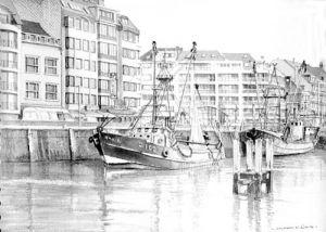 Fishing Boats moored in Harbour - Visserkaai Ostend