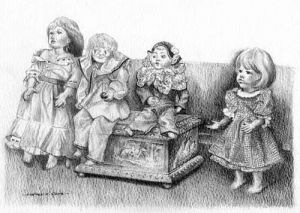 My Pencil drawing of Dolls made by Linda