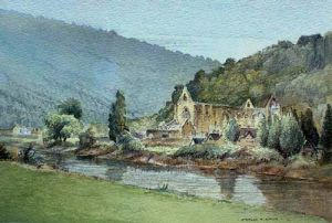 Tintern Abbey across the river Wye - Monmouthshire